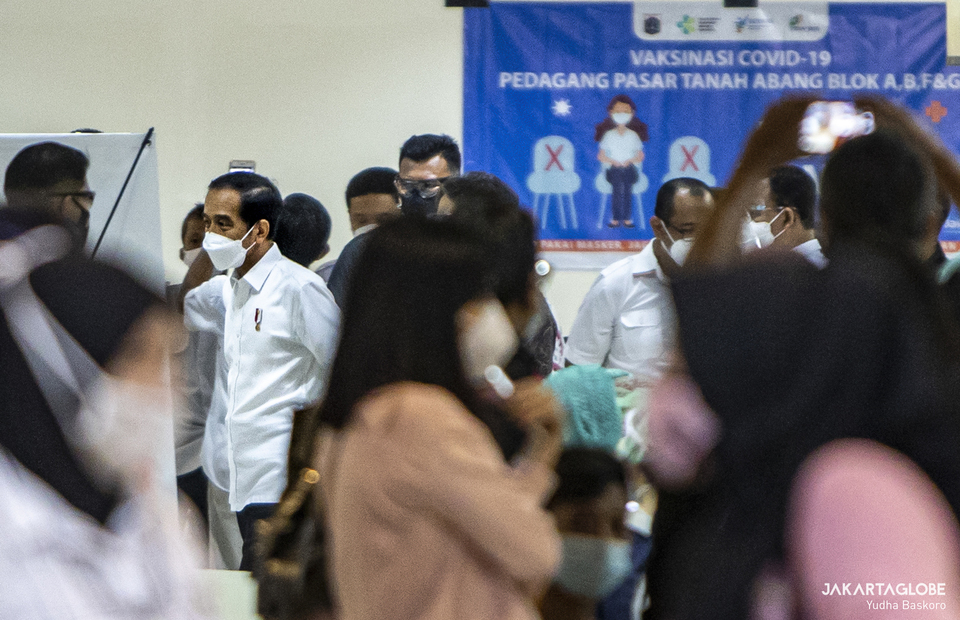 President Joko Widodo is seen inside vaccination room during second phase of COVID-19 mass vaccination in Tanah Abang market, Central Jakarta on Feb 17, 2021. (JG Photo/Yudha Baskoro)