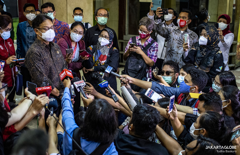 Minister of Health of Indonesia Budi Gunadi Sadikin speaks to the press during second phase of COVID-19 mass vaccination in Tanah Abang market, Central Jakarta on Feb 17, 2021. (JG Photo/Yudha Baskoro)