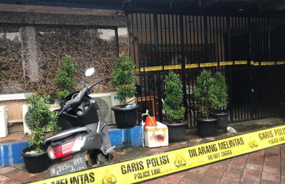 The scene of a fatal shooting that kills three people at Kafe RM in West Jakarta on Feb. 25, 2021. (Antara Photo)