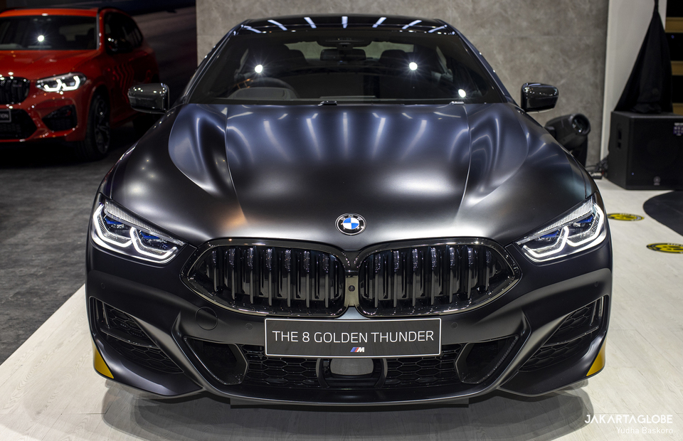 The BMW 8 Series luxury sports car Golden Thunder Edition is seen during Indonesia International Motor Show (IIMS) Hybrid 2021 at JIexpo Kemayoran in Central Jakarta on April 15, 2021. (JG Photo/Yudha Baskoro)