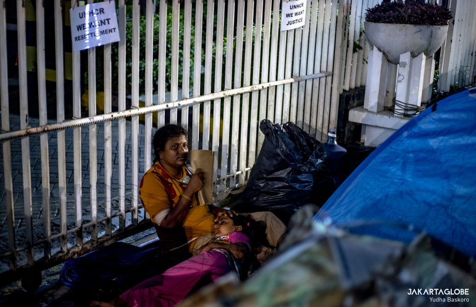 A refugees from Sri Lanka sleep outside the offices of the United Nations High Commissioner for Refugees (UNHCR) in Central Jakarta on April 27, 2021. (JG Photo/Yudha Baskoro)