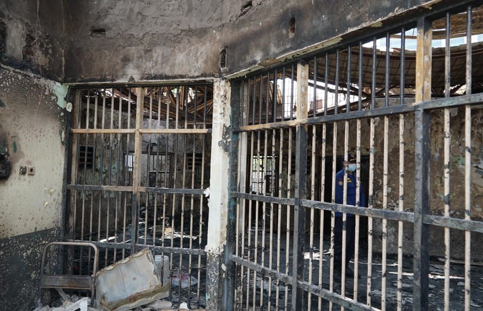 A cell at the Tangerang Penitentiary is destroyed by fire on Sept. 8, 2021. (Photo courtesy of the Justice Ministry)
